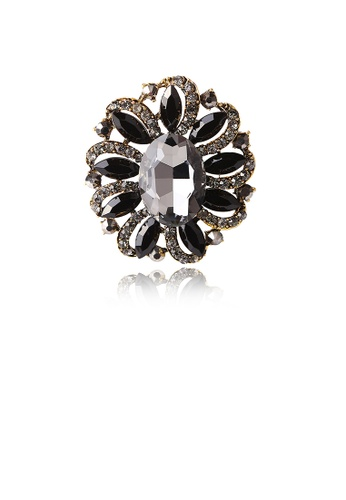 Glamorousky black Fashion and Elegant Plated Gold Geometric Flower Brooch with Black Cubic Zirconia 13608AC027F890GS_1
