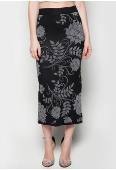 Maxi Knitted Skirt Flower Printed Design