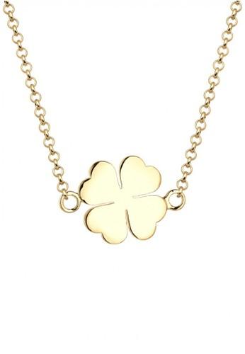Elli Germany gold Perhiasan Wanita Perak Asli - Silver Kalung Basic Clover Gold Plated BB826ACAEB8B32GS_1