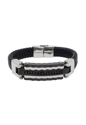Jaysa Collection black Stainless Steel Griddle Buckle with Weaved Leather Strap JA875AC25NVQSG_1