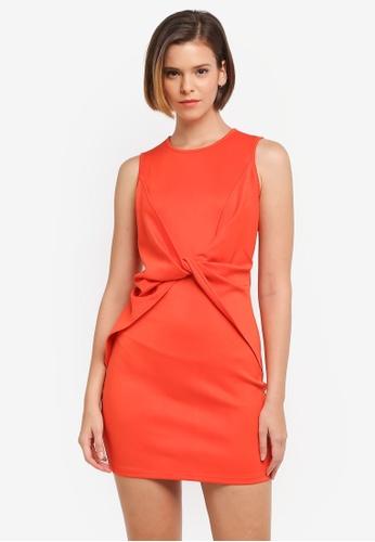 ZALORA orange Twist Panel Sleeveless Dress 1A4F9AAB0D00DAGS_1