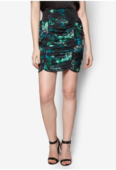 The Secret Garden Ruched Floral Pencil Skirt in Green