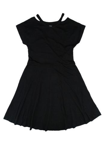 FOX Kids & Baby grey V neck Cutout Skater Dress 66531KAFDA29F7GS_1
