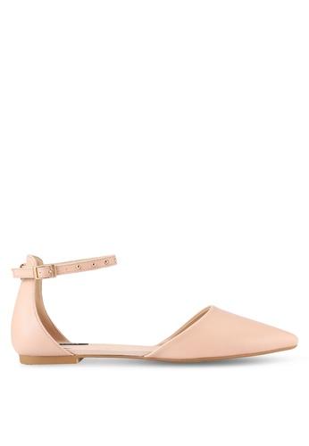 ZALORA pink Ankle Strap Studded D'Orsay Flats 2B863SHFB73C72GS_1