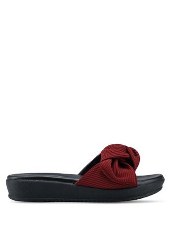 Bata 紅色 羅紋扭結厚底涼鞋 B7AC4SHEA478FCGS_1