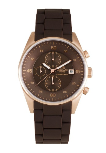 Roscani brown Roscani Noelle 972 (Chronograph + WR 10ATM) Rose Gold Brown Silicone Men Watch 00E7CACE5F4B42GS_1
