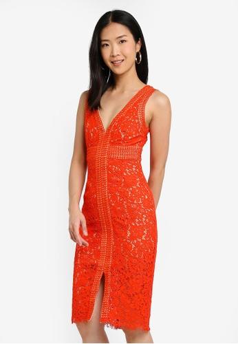 Bardot orange Halter Lace Dress C4C3AAA1CAA50CGS_1