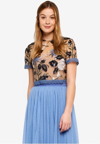 True Decadence blue Floral Embroiderd Lace Top 2EACEAA4A60E7DGS_1