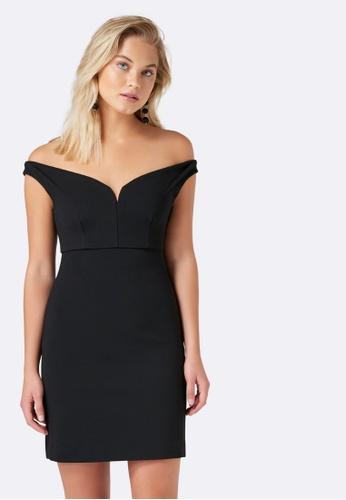 Forever New black Anastasia Bardot Bandage Dress 41D12AA954D891GS_1