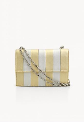 Pomelo yellow Striped Metallic Chain Cross Body Bag - Yellow  8018BAC53617D3GS 1 1af4ea81da5f3