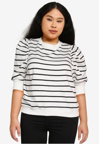 Only CARMAKOMA white Plus Size Malou Life Long Sleeves 3/4 Sweatshirt 9426FAA0F843E5GS_1