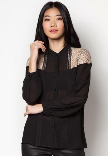 zalora taiwan 時尚購物網鞋子撞色蕾絲拼肩長袖上衣, 服飾, 上衣