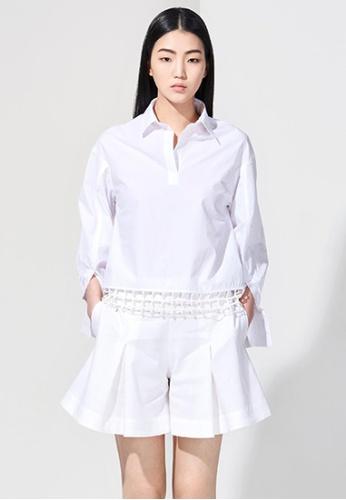 EJnolee white White Shirt With Plaid Decoration EJ188AA0FIGWSG_1