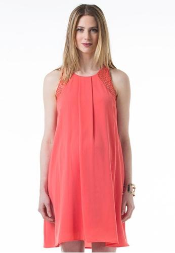 Bove by Spring Maternity pink and orange Woven Sleeveless Bibiana Back-V Dress IDN6701 BO010AA36DUDSG_1