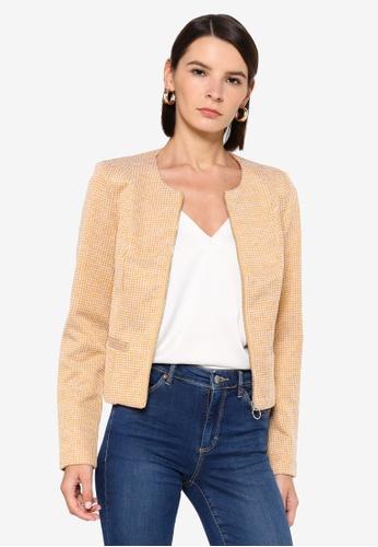 Vero Moda brown Check Zip Short Blazer E0034AAF6267F6GS_1