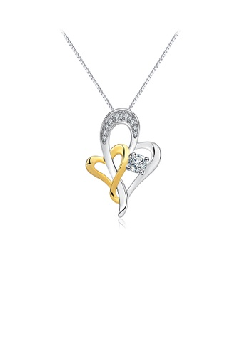 Glamorousky white 925 Sterling Silver Simple Romantic Two-tone Heart Pendant with Cubic Zirconia and Necklace B2CBAAC1213C9DGS_1