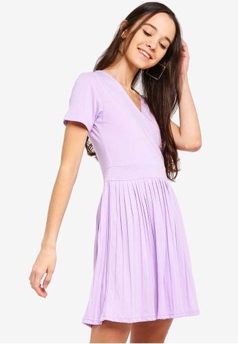 Something Borrowed purple Pleated Mini Dress 4A960AA25BB0B2GS_1