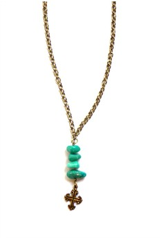 Green Turquoise Cross Necklace