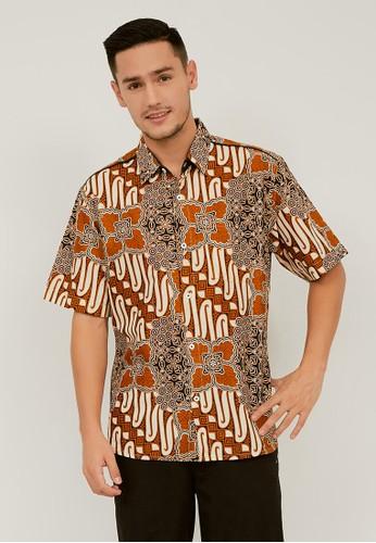 Batik Wibowo brown Mafraq Batik Shirt FB66FAAE5AB2B9GS_1
