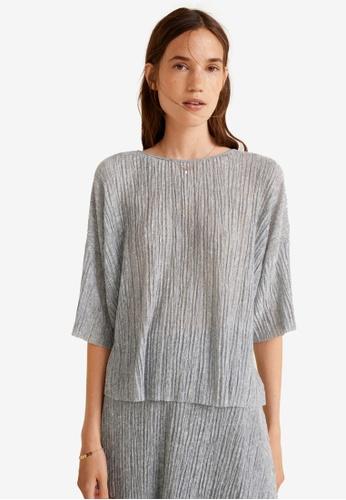 Mango grey Textured Flowy T-Shirt 062CDAA673E1CEGS_1