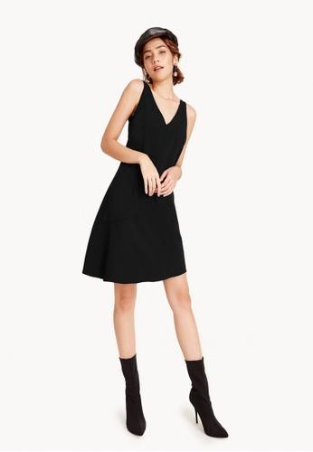 Pomelo black Annmarie Asymmetrical Midi Dress 4DEFDAA2532625GS_1