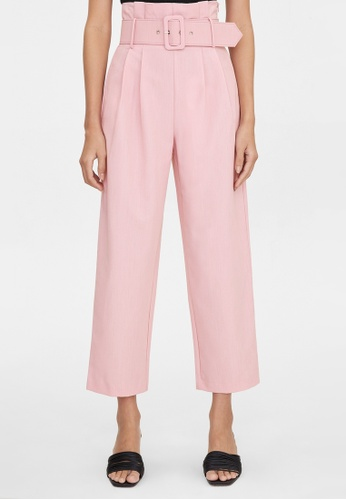 Pomelo pink Belted Paper Bag High Waist Pants - Pink 6021DAA8E49586GS_1