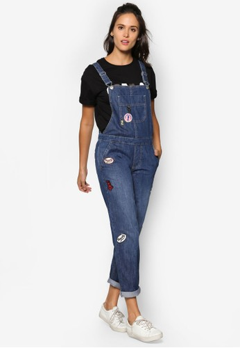 寬鬆拼貼吊帶丹寧esprit outlet 香港連身褲, 服飾, 服飾
