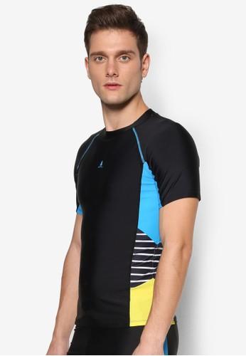 色塊條紋短袖高esprit hong kong領泳衣, 服飾, 運動