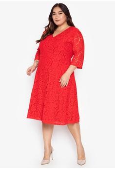 7ce5e007c0f5 Ashley Collection Plus red Plus Size Lace V-Neckline Flare Dress  760F9AA4C26E2FGS_1