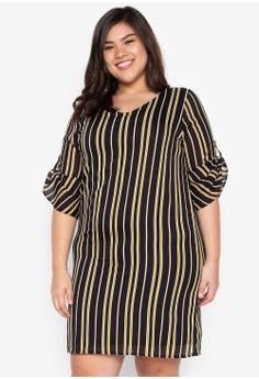 dfa253dc6b42 Divina black Plus Size 3 4 Sleeve Stripes Dress 20C25AAA04AEA6GS 1