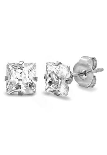 Elfi silver Elfi Stainless Steel Princess Cut Stud Earring EL186AC42VZPMY_1