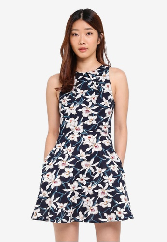 Something Borrowed navy Pleat Detail Waisted Dress C94D6AAD33C329GS_1
