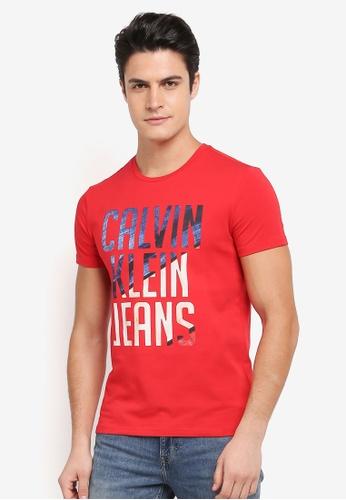 Calvin Klein 紅色 Digital Print Crew Neck Short Sleeve T-Shirt - Calvin Klein Jeans D28BFAA7E9EB76GS_1