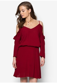 Cheesecloth Off The Shoulder Frill Trim Skater Dress