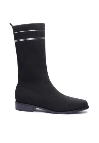 Twenty Eight Shoes 黑色 針織修腳襪靴718-3 DC782SHD91485CGS_1