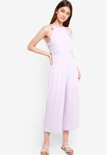 Something Borrowed purple Ruffles Detailed Cut-In Jumpsuit C0E06AA3E2A74FGS_1
