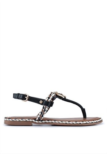 best selling shades of order Leather Ring And Rope Flat Sandals