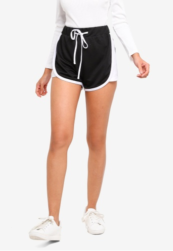 ZALORA BASICS black Basic Lounge Shorts With Contrast Binding AC2FDAA6131388GS_1