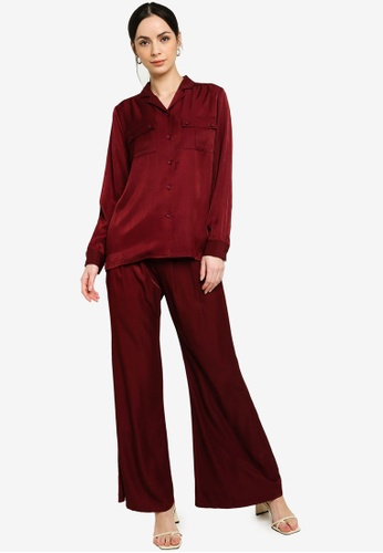 Zalia red Placket Shirt with Pants Set 295C8AAA34BA7FGS_1