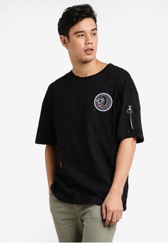 Flesh Imp 黑色 Panther Patch Oversized Box Cut T-Shirt FL064AA80WZBMY_1