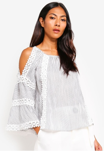 BYSI white and multi Crochet Trim Stripe Blouse 0D5A5AA6DC95BEGS_1