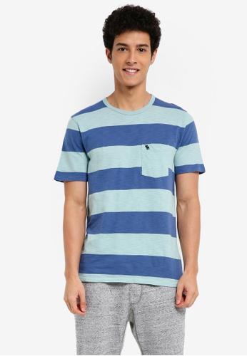 Abercrombie & Fitch green Short Sleeve Stripe T-Shirt 0F400AA2439E53GS_1