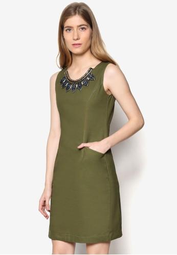 Alicia 鍊飾圓領esprit china丹寧連身裙, 服飾, 洋裝