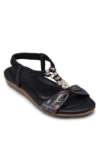 金屬飾esprit旗艦店T字帶繞踝涼鞋, 女鞋, 鞋