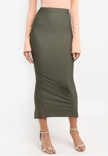 MISSGUIDED green Bandage Midaxi Skirt 224CDAA74EBF04GS_1