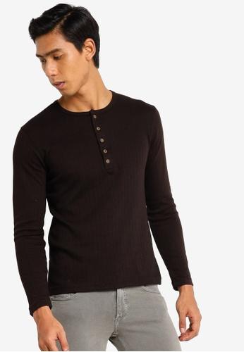 UniqTee black Henley Long Sleeve T-shirt F9A77AA04461BBGS_1