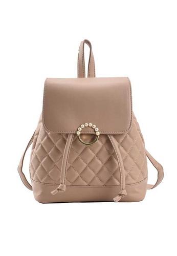 Lara beige Women's Rhombic Embossed Leather Flap Drawstring Backpack - Khaki 6D61AACCE2C690GS_1
