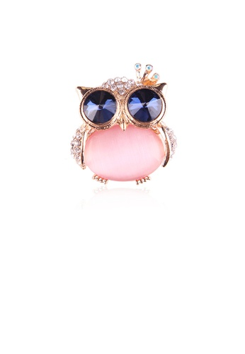 Glamorousky pink Fashion and Cute Plated Gold Owl Pink Imitation Opal Brooch with Cubic Zirconia D3BE4AC80C3F1AGS_1