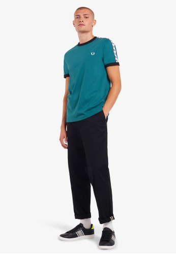 Fred Perry green M6347 - Taped Ringer T-Shirt - (Light Petrol) 10CB6AA11C4D23GS_1