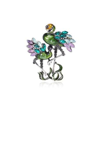 Glamorousky green Fashion and Elegant Green Flamingo Brooch with Cubic Zirconia F7FE0AC8012244GS_1